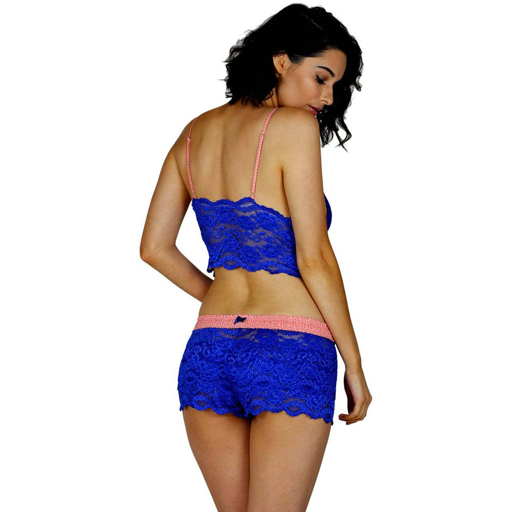 Women's Blue Lace Boxers and Lace Cami