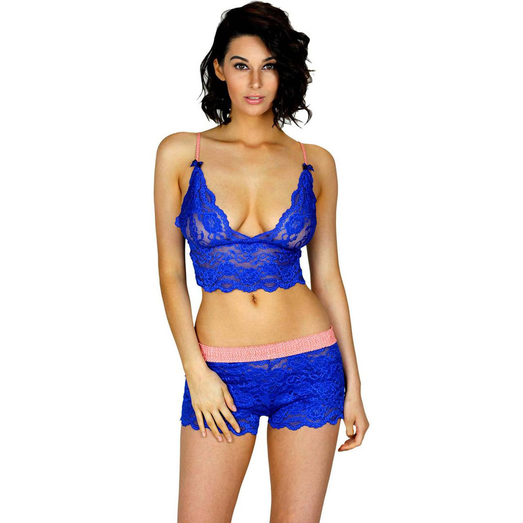 Royal Blue Lace Bralette Camisole with Coral Straps | FOXERS