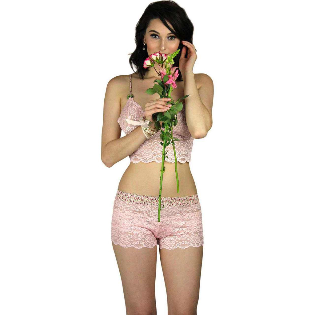 Pretty Pink Lace Cami and Lace Boxers for Women