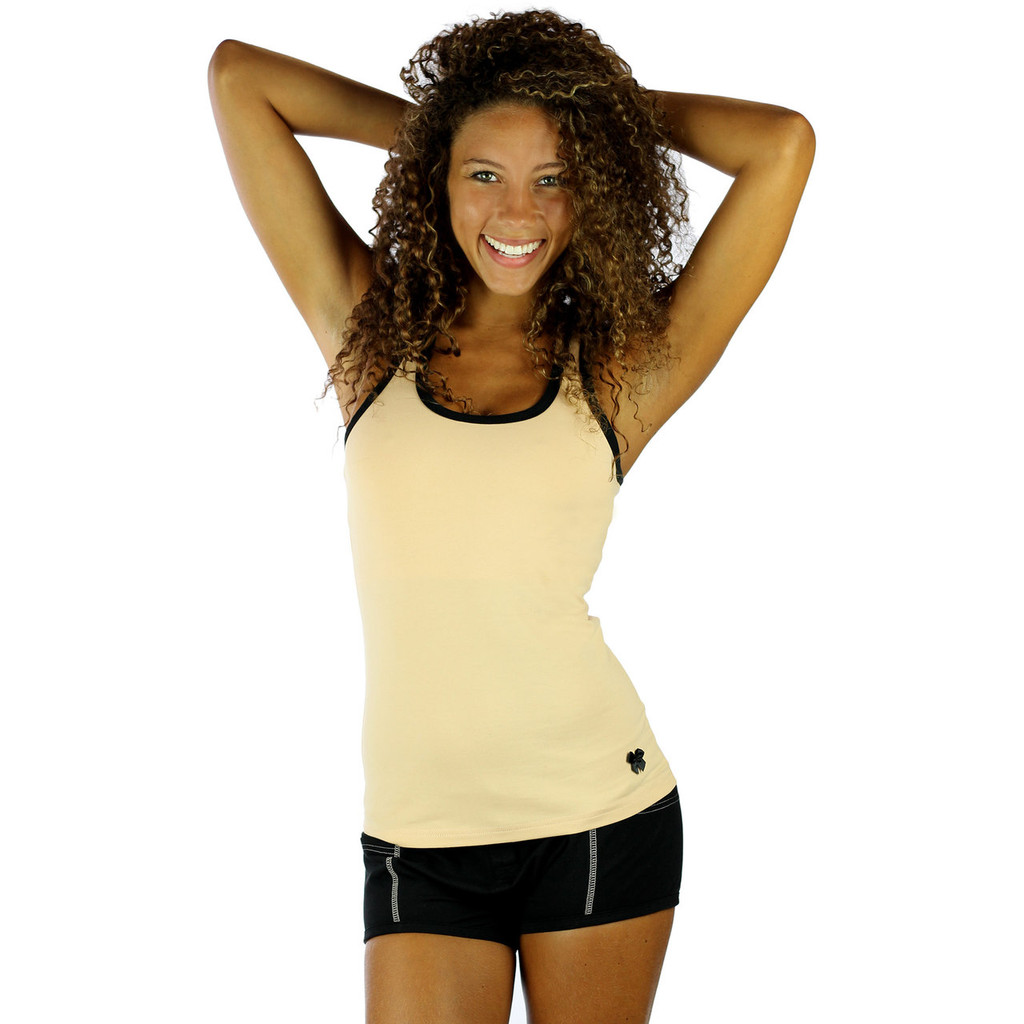 This sexy nude tank top for women is designed with contrasting black trim and a black satin bow detail.