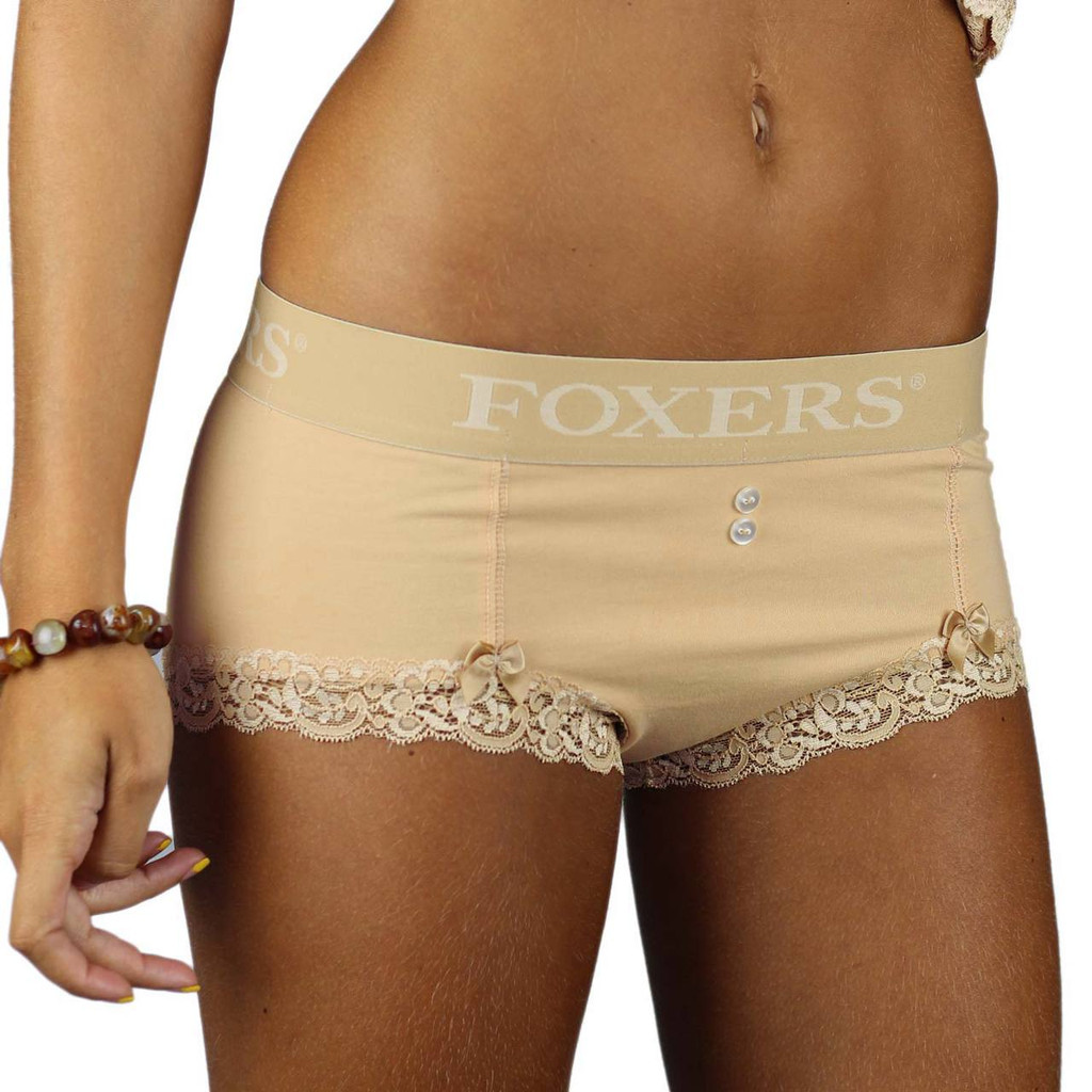 Nude Cotton Boyshorts with Foxers Logo Flat Waistband