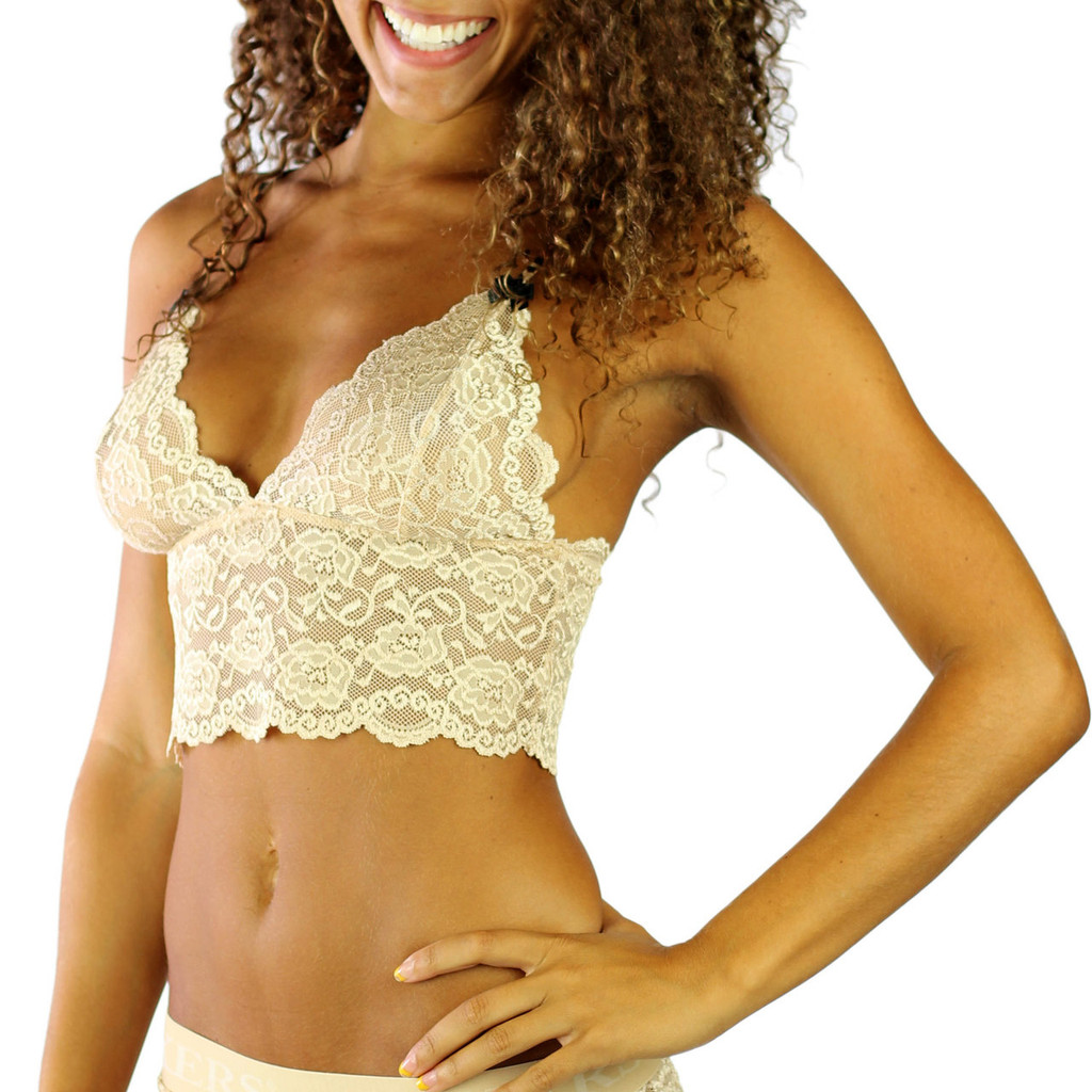 FOXERS Nude Lace Camisole with Leopard Print Cotton Straps