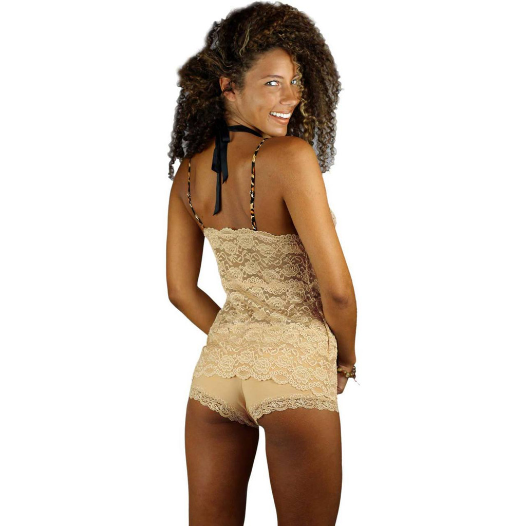 Sahara Sand Lace Camisole and Matching Boyshorts