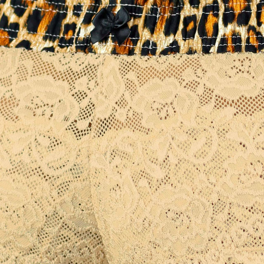 Leopard Print Waistband with Black Satin Bow