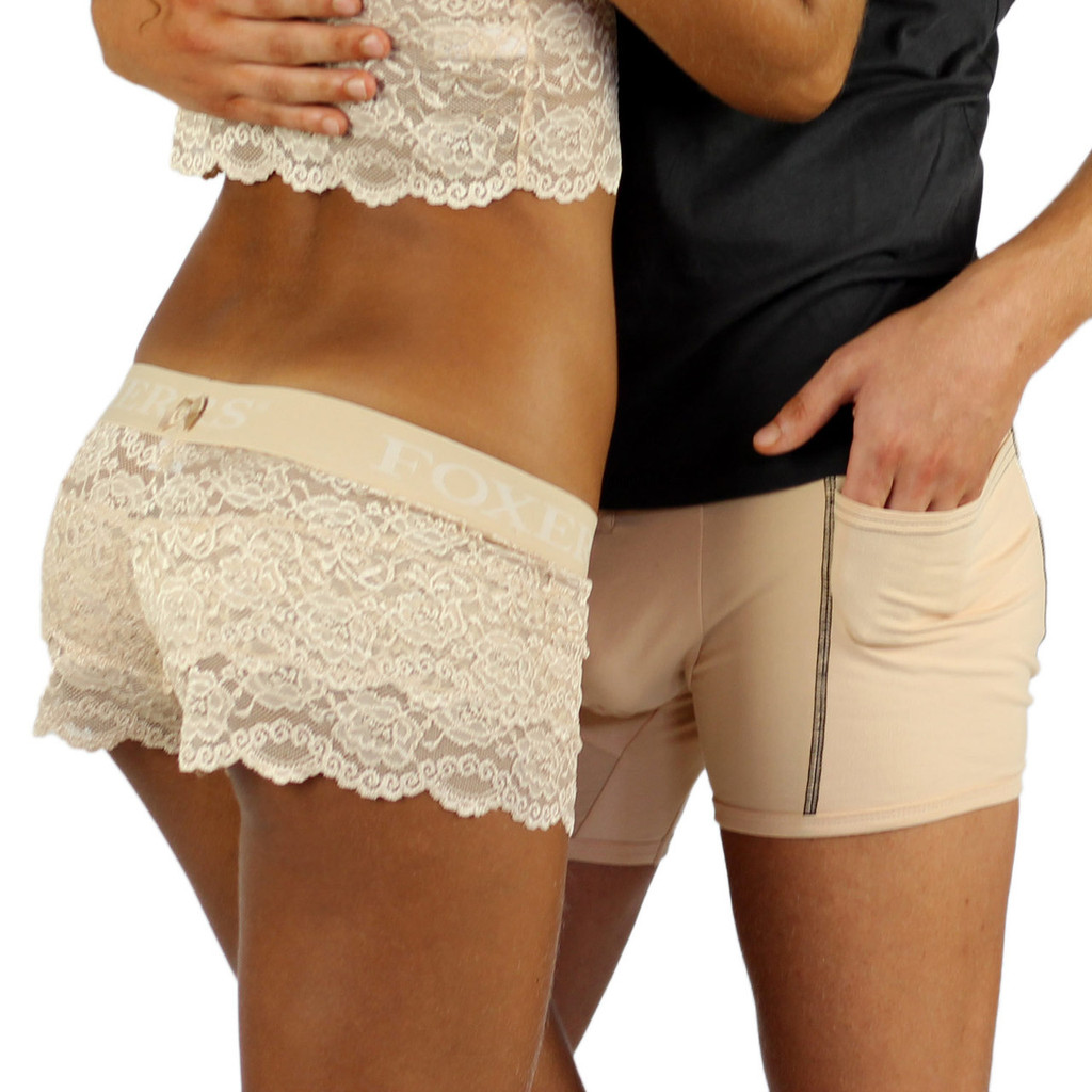 Matching Men's Boxers and Women's Lace Boxers from Sahara Oasis Collection