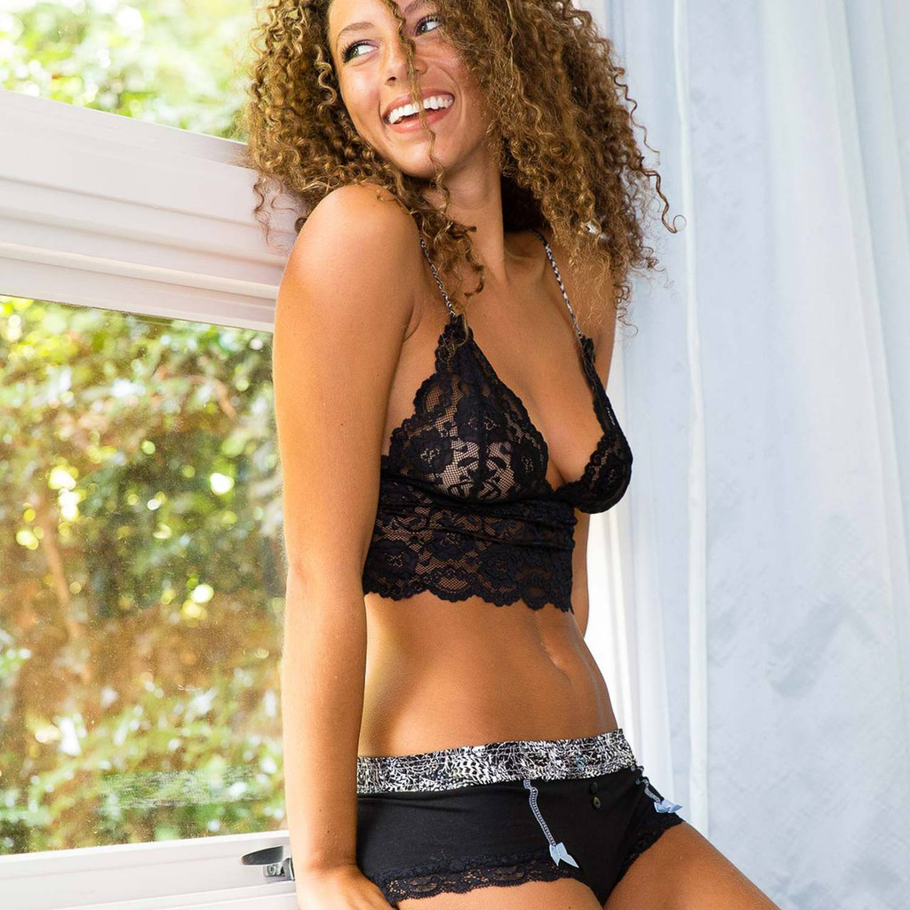 Jordan in Foxers Black Boyshorts and Black Lace Bralette from the Feathers Collection