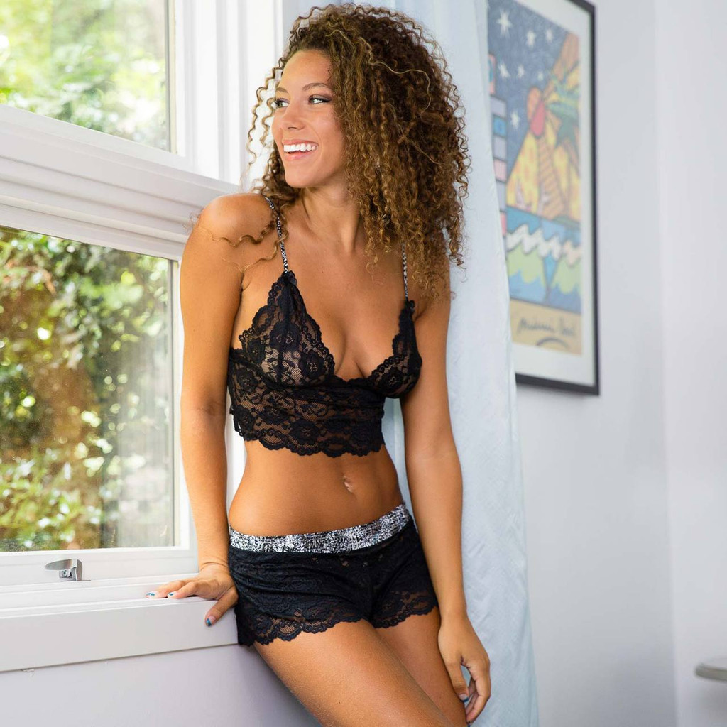 Feathers Collection Black Lace Boxers and Matching Bralette