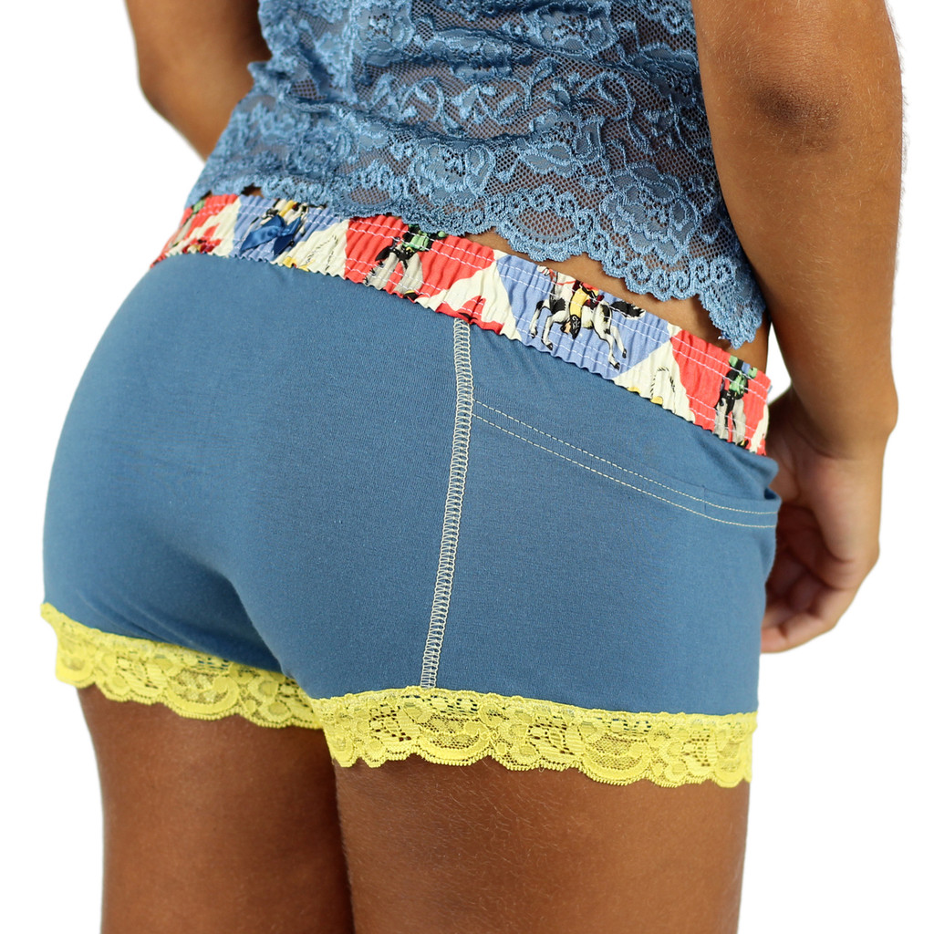 """Retro Cowboy Cartoon """"Rodeo"""" waistband on our Boxer Briefs for Girls"""