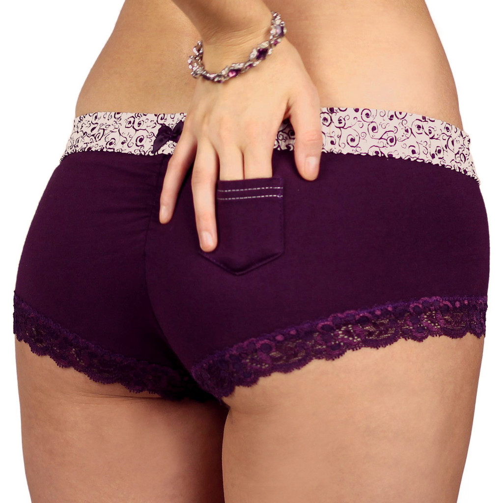 Plum Boyshort Cheeksters with Scroll FOXERS Band