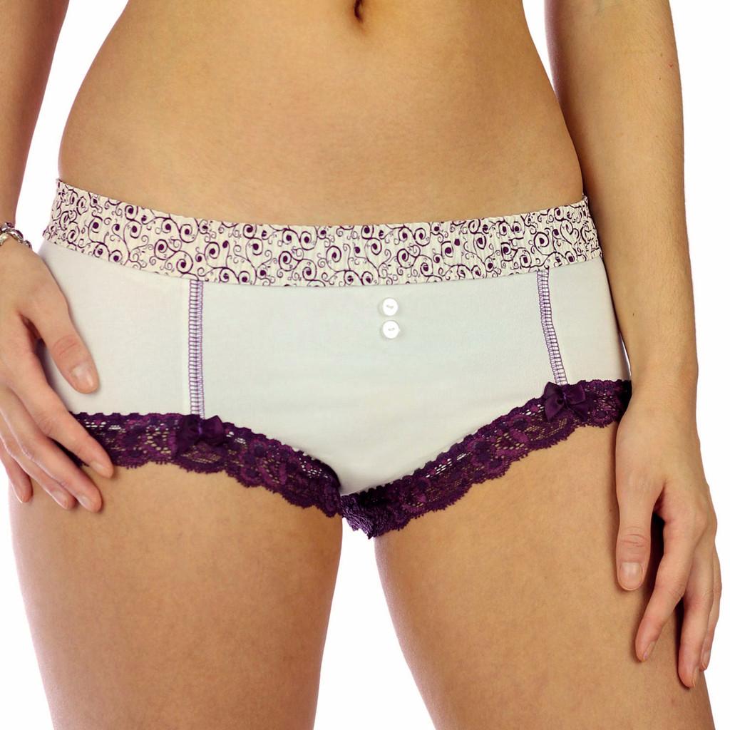 Cheeky Ivory Cotton Boyshort Panties with Plum Scroll Waist
