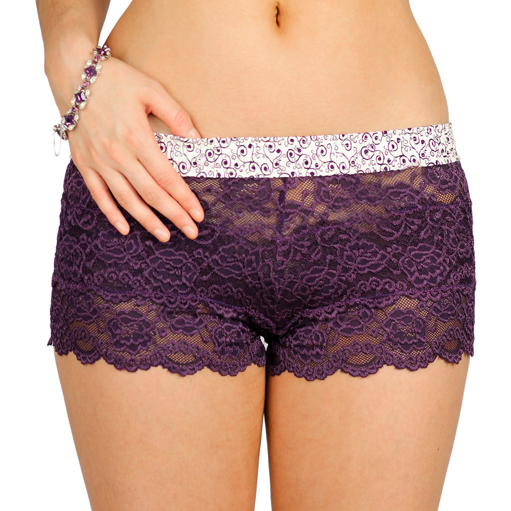 Plum Lace Boxers with Plum Scroll Waistband