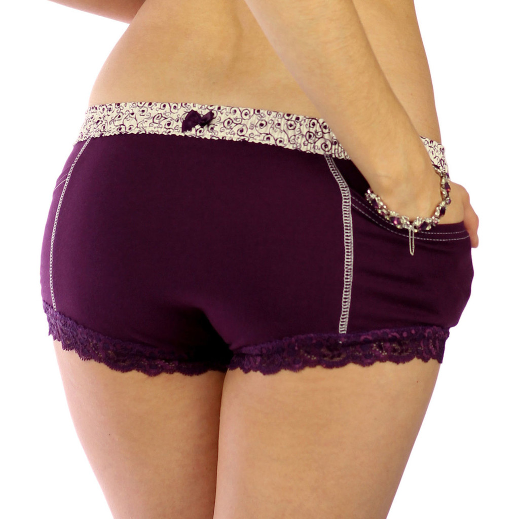 Plum Boxer Briefs with Scroll Print FOXERS Band