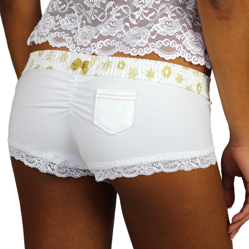 White Boyshorts Panties with Frozen Gold Waistband