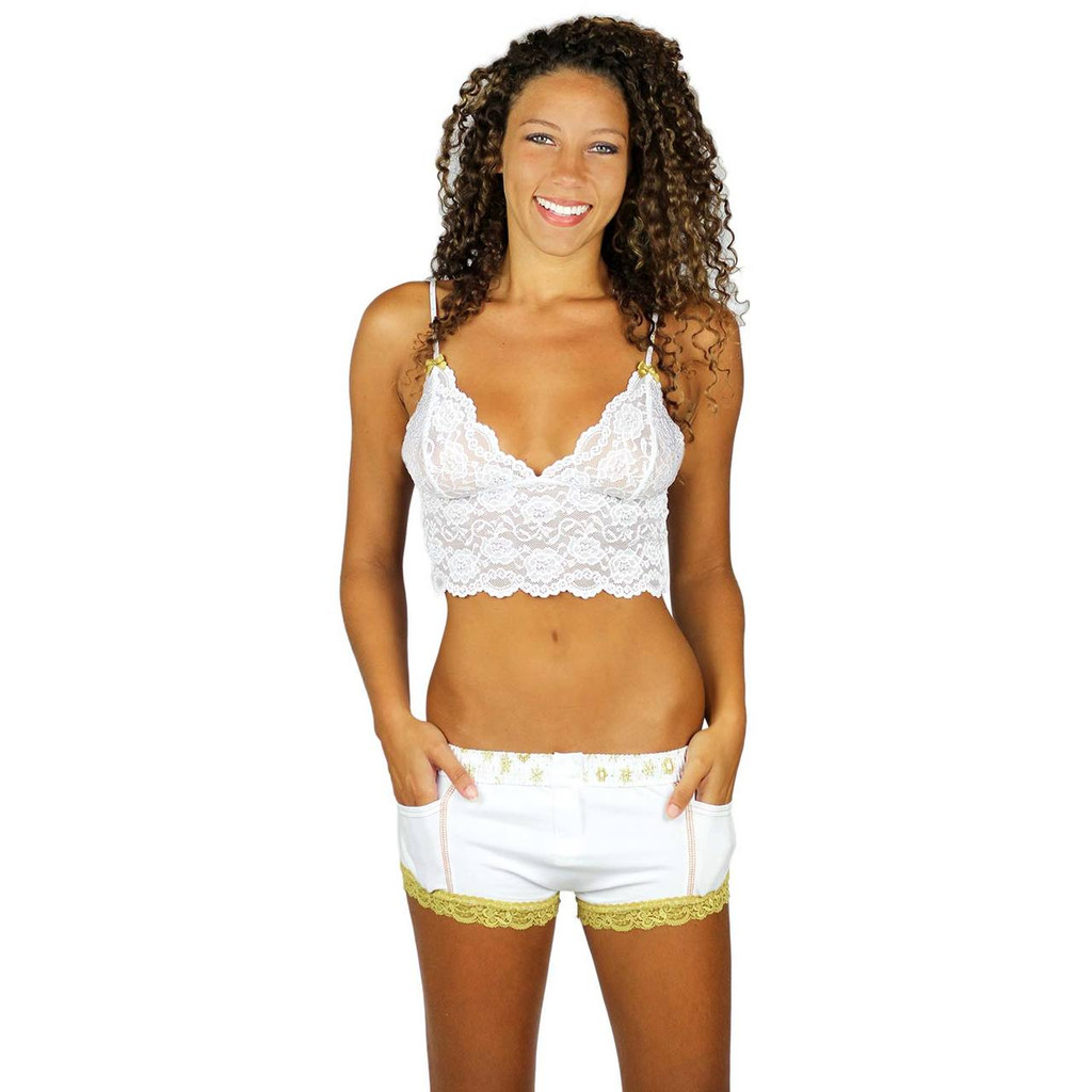 Womens White Cotton Boxer Brief Panties with Gold Lace Trim and Golden Snowflake Waistband