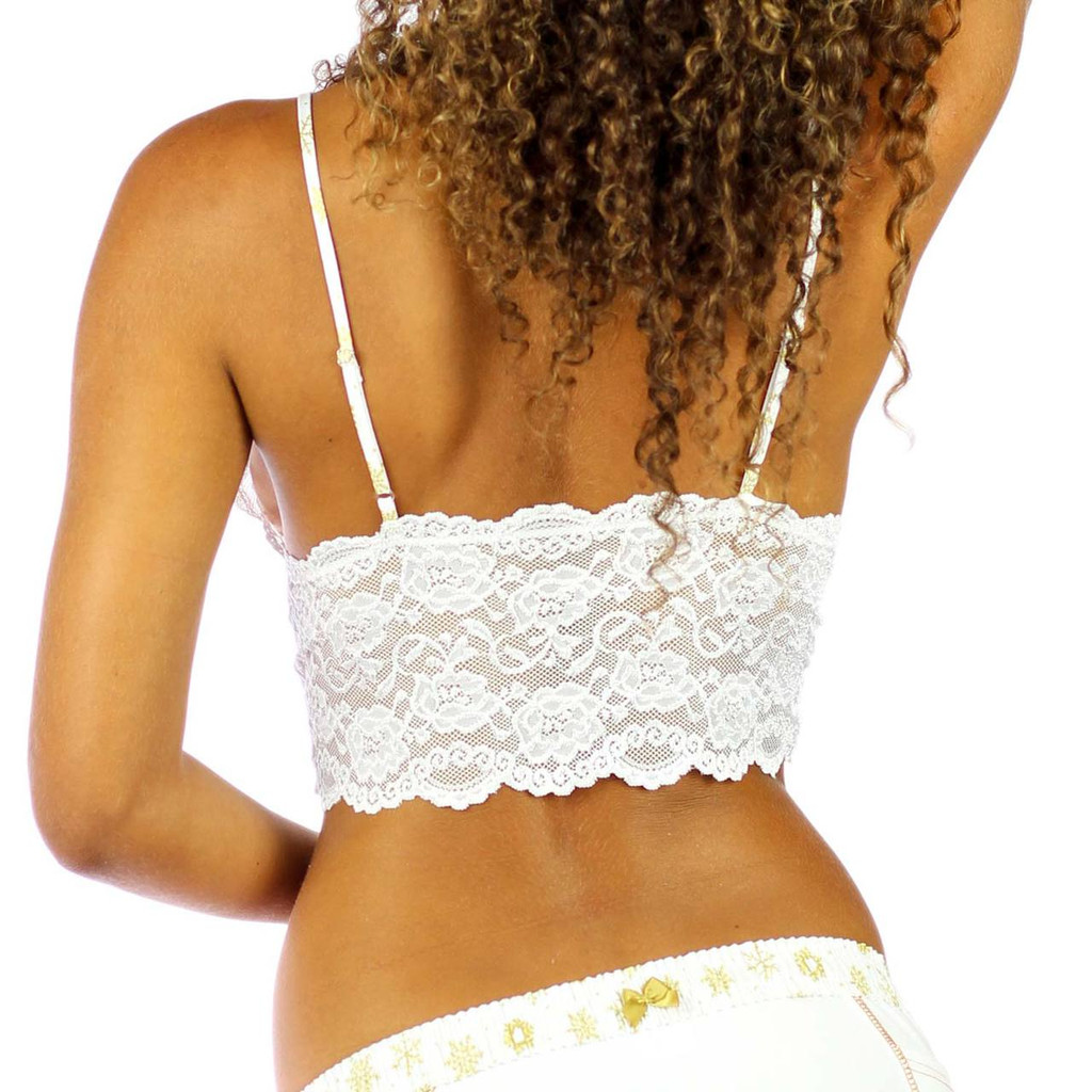 White Lace Bralette Cami with Frozen Gold Straps