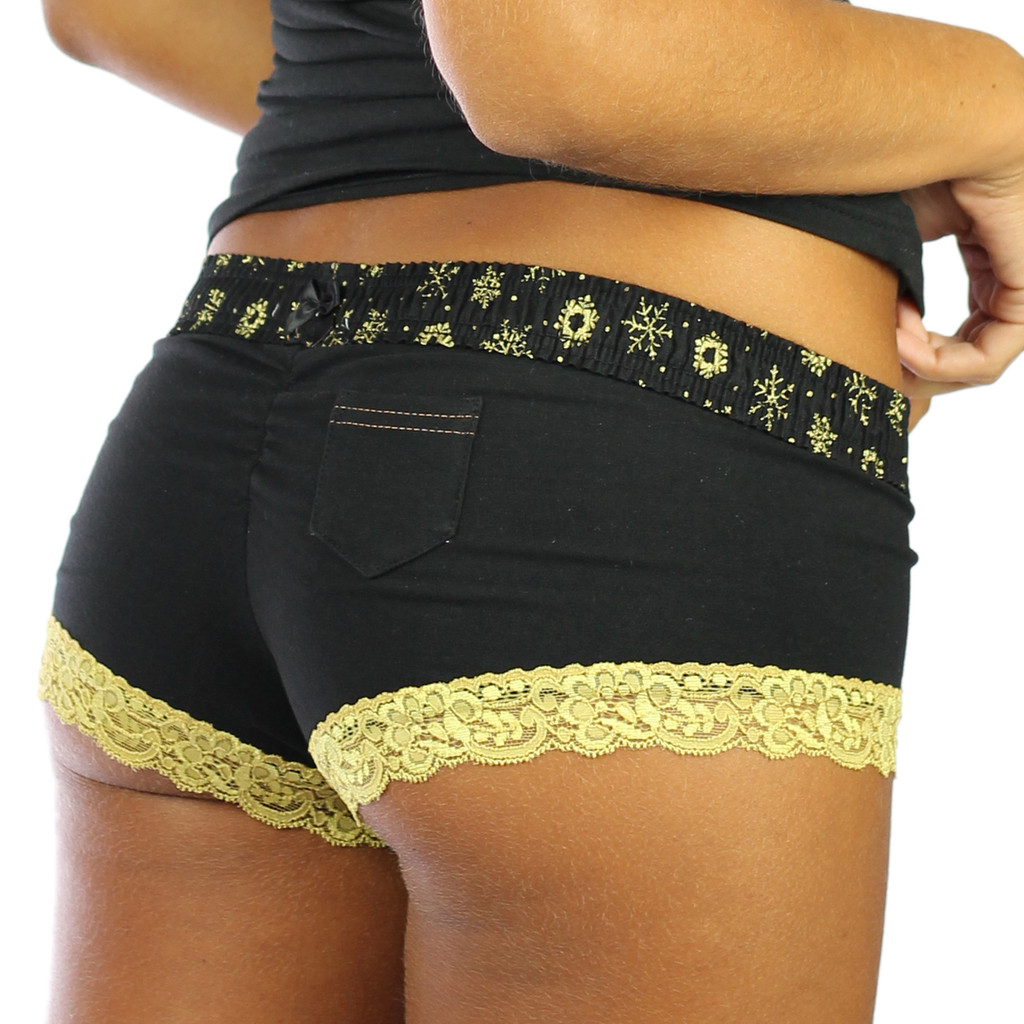 Black Boyshorts Panties with Frozen Gold Waistband