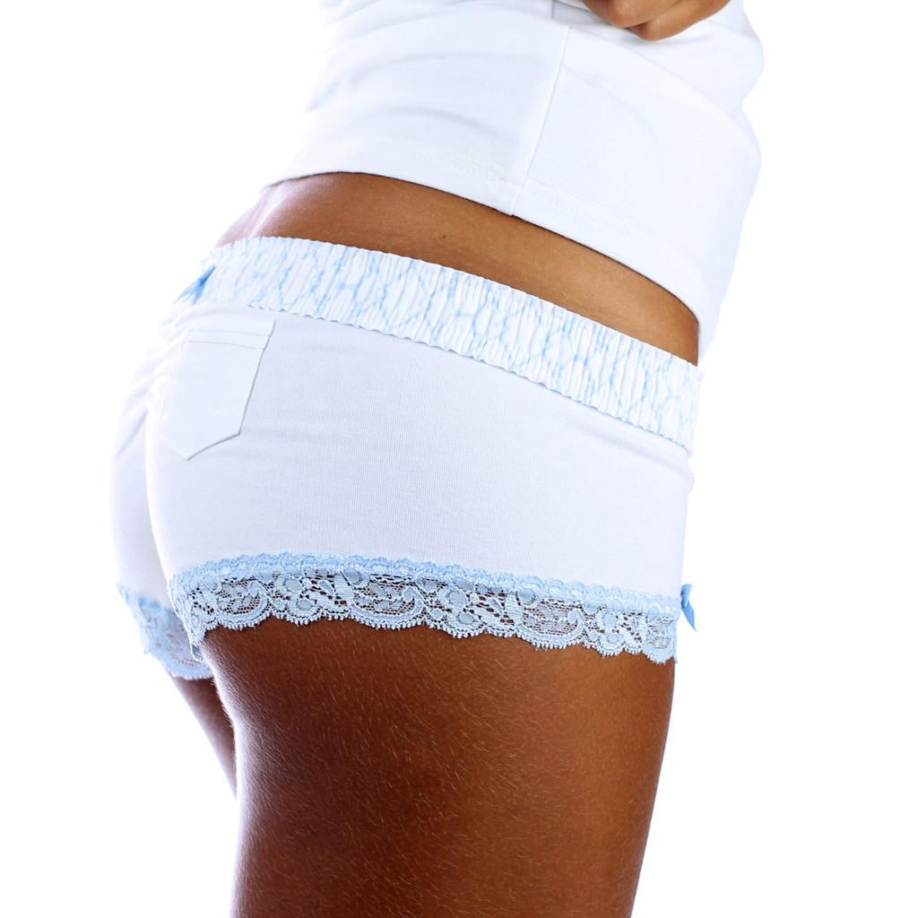 White Boy Shorts Panties with Trellis Print FOXERS Boxer Style Waistband