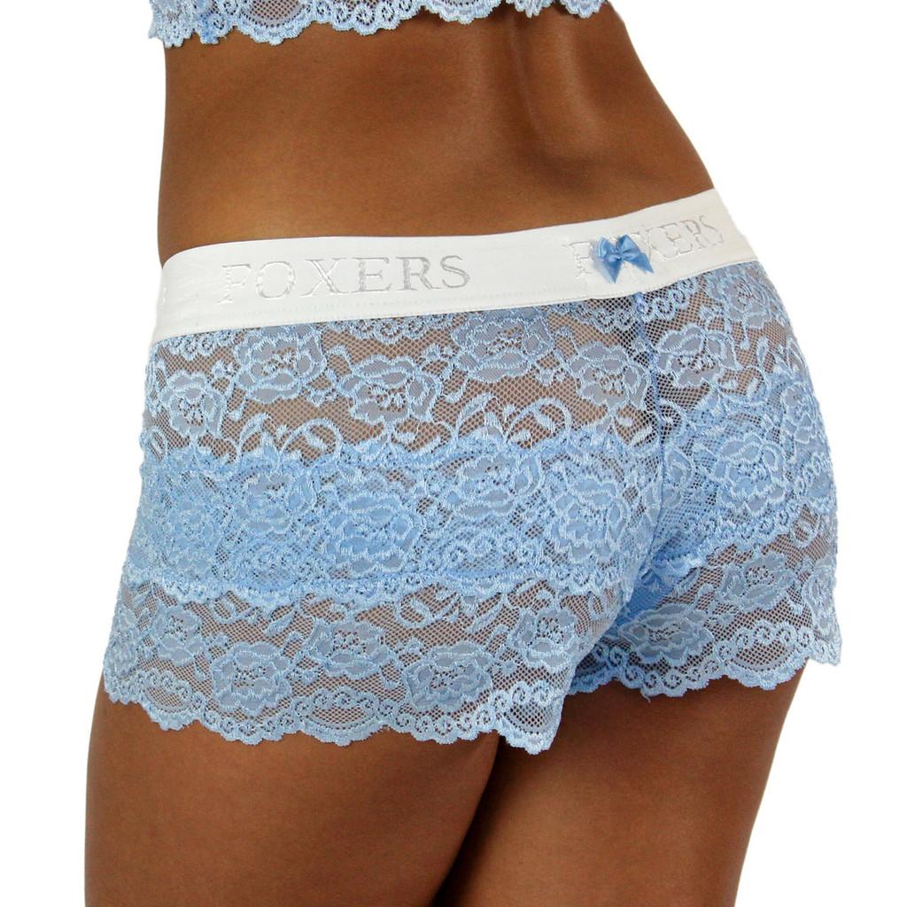Light Blue Lace Boxer for Ladies