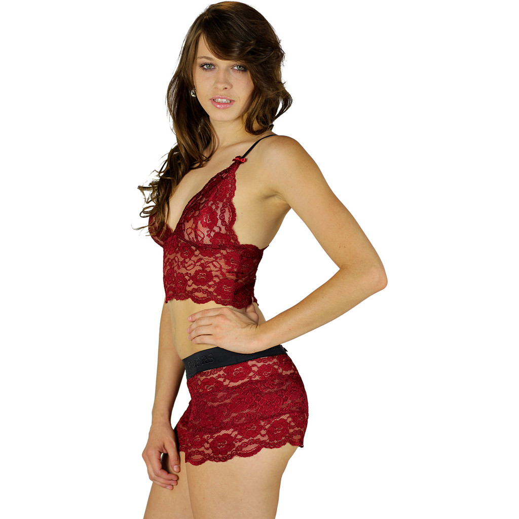 Sexy Dark Red Lace Boxers and Matching Lace Camisole