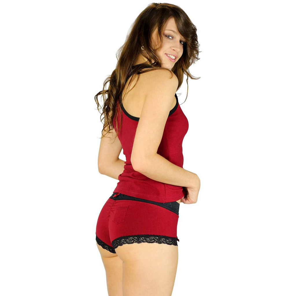 Cheeky Boyshort Hipsters with Black Lace Trim