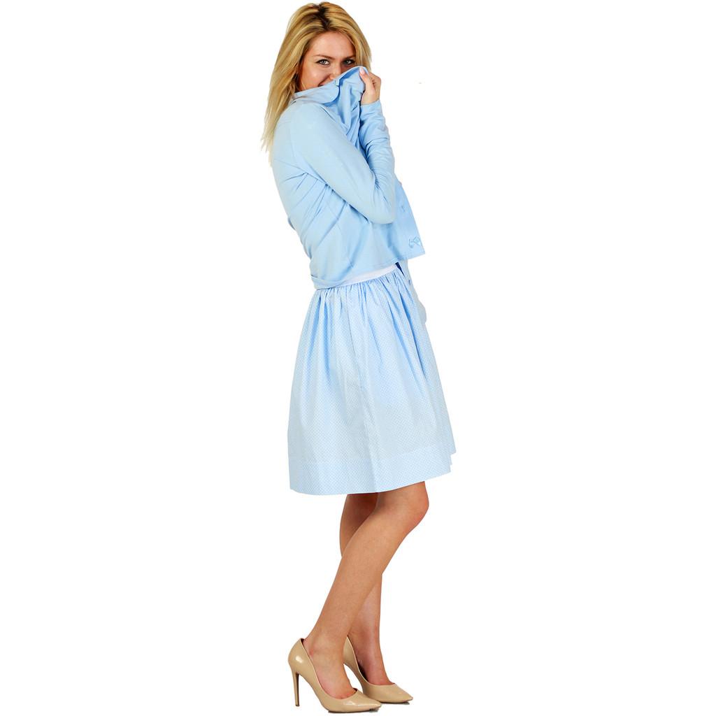 Light Blue Polka Dot Skirt With Pockets
