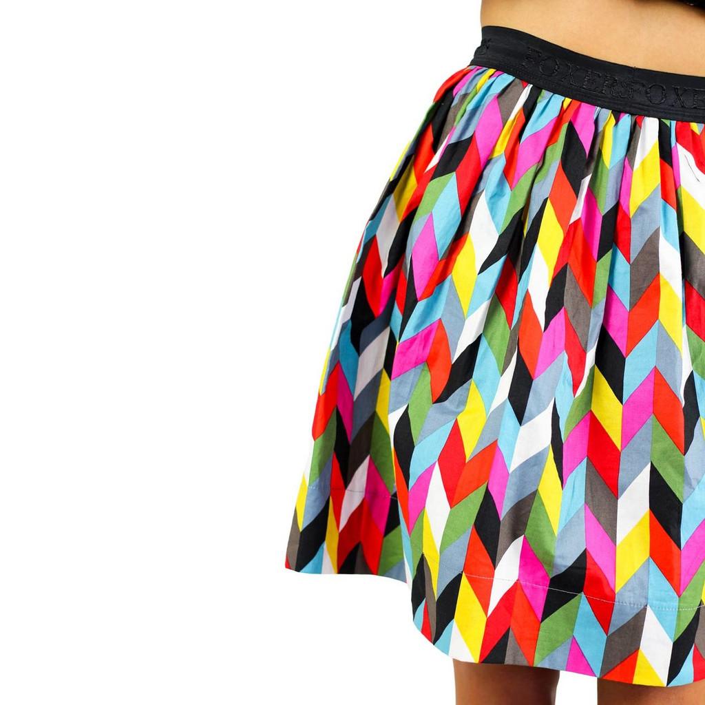 Kaleidoscope Print Skirt With Pockets