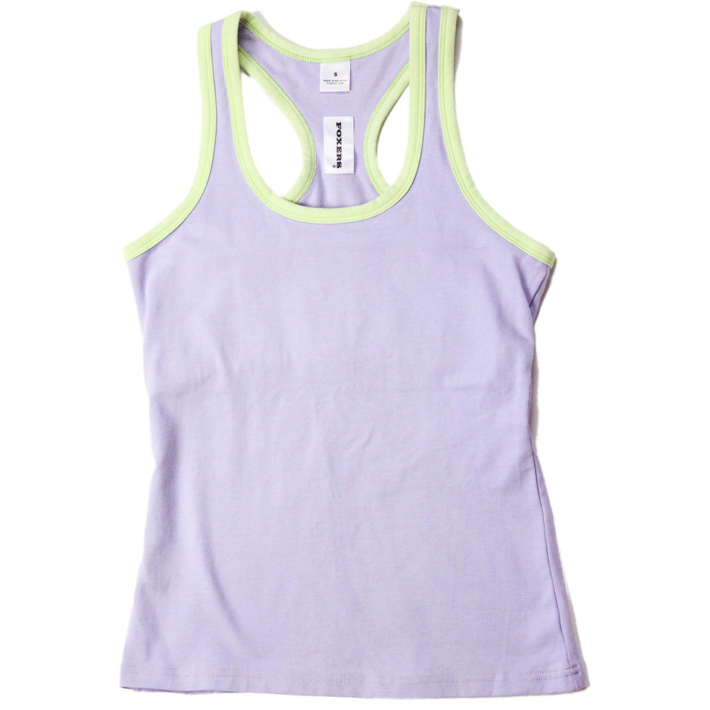 Light purple tank top with light green trim