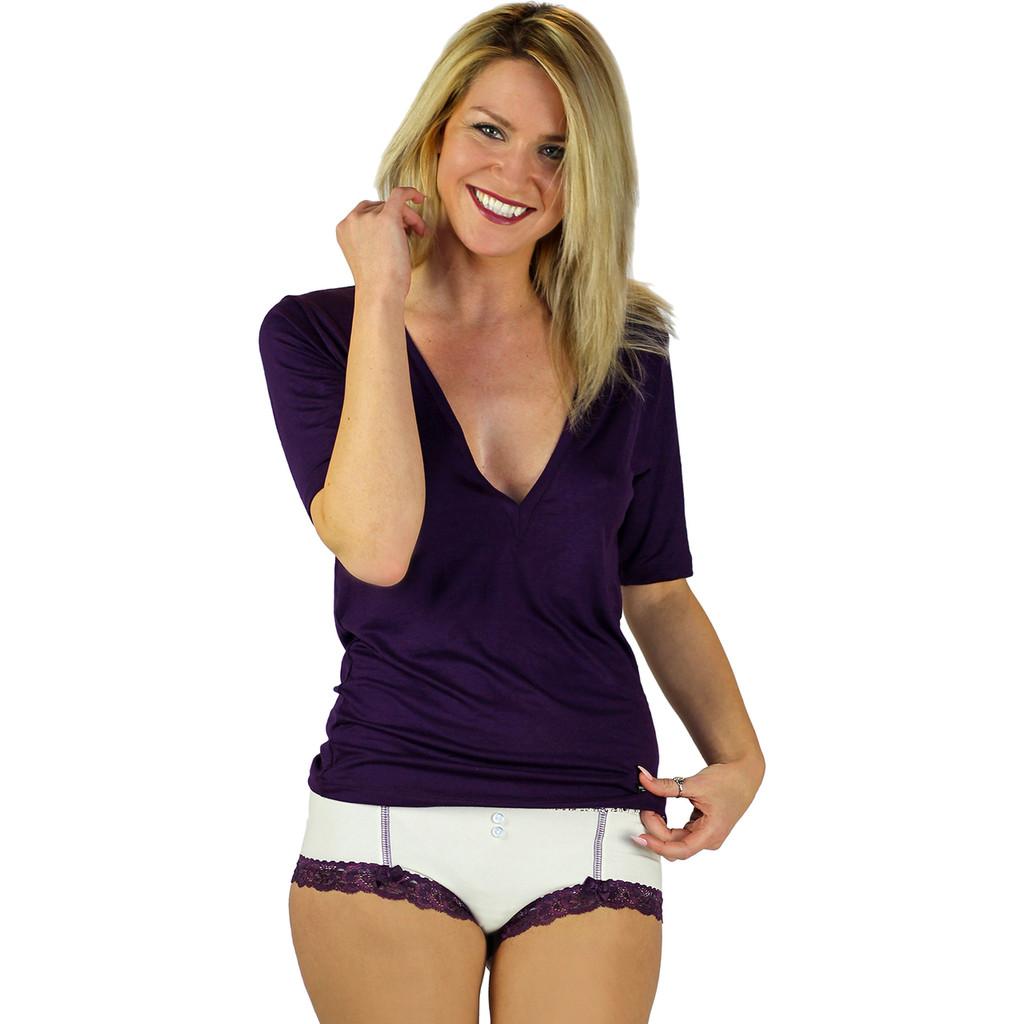 Plunging Neck Line Purple T-shirt