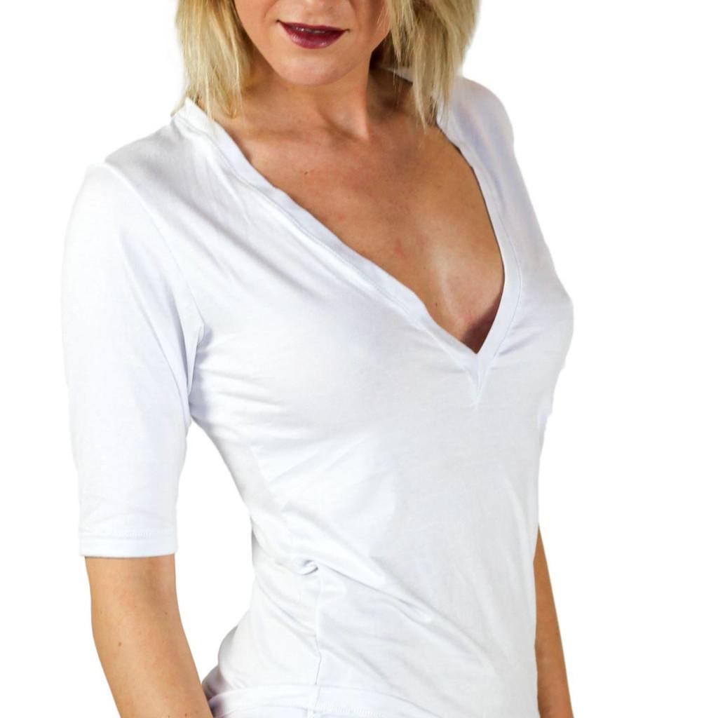 Half Sleeve White Deep Vee Designer T-shirt by FOXERS