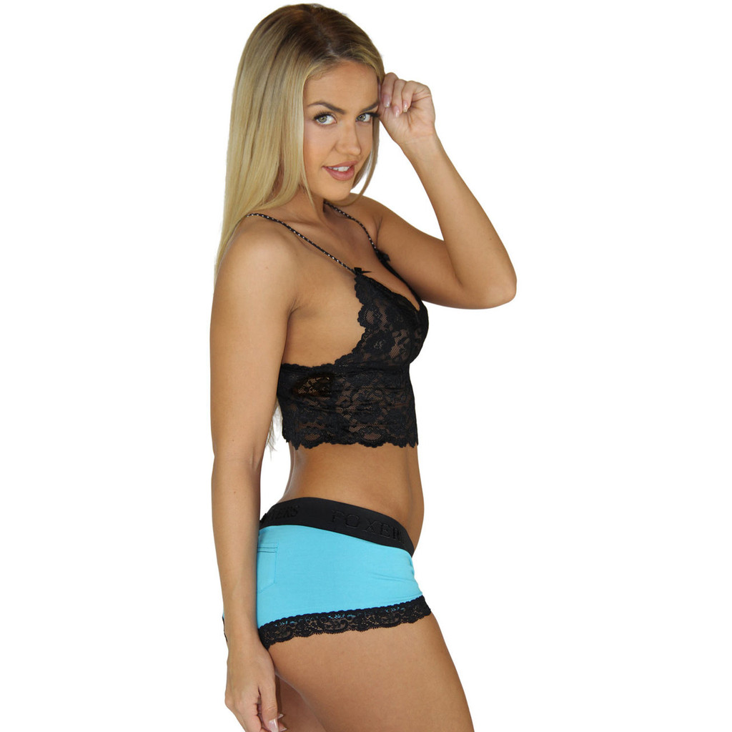 Turquoise Blue Boyshorts Panties with Flat Waistband