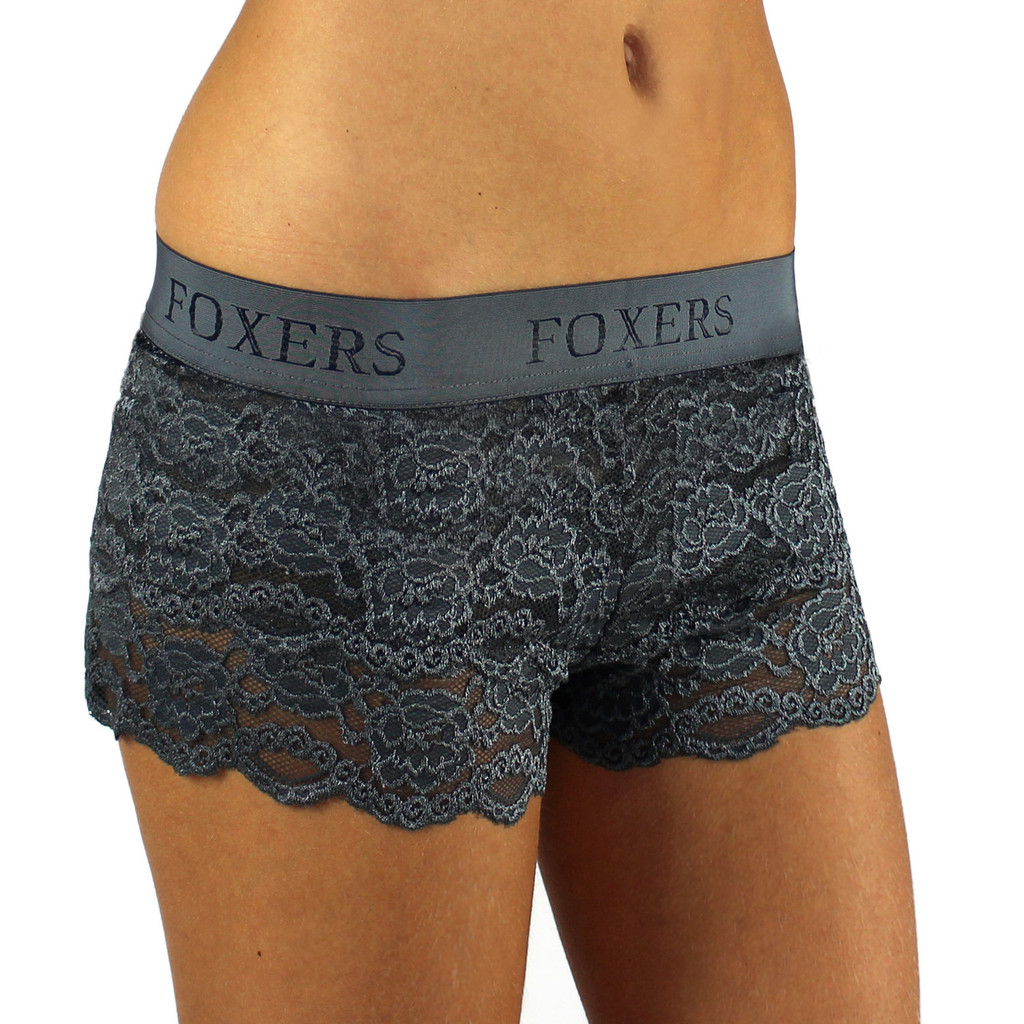 USA Made Chargray Lace Boxer with FOXERS Logo Elastic band