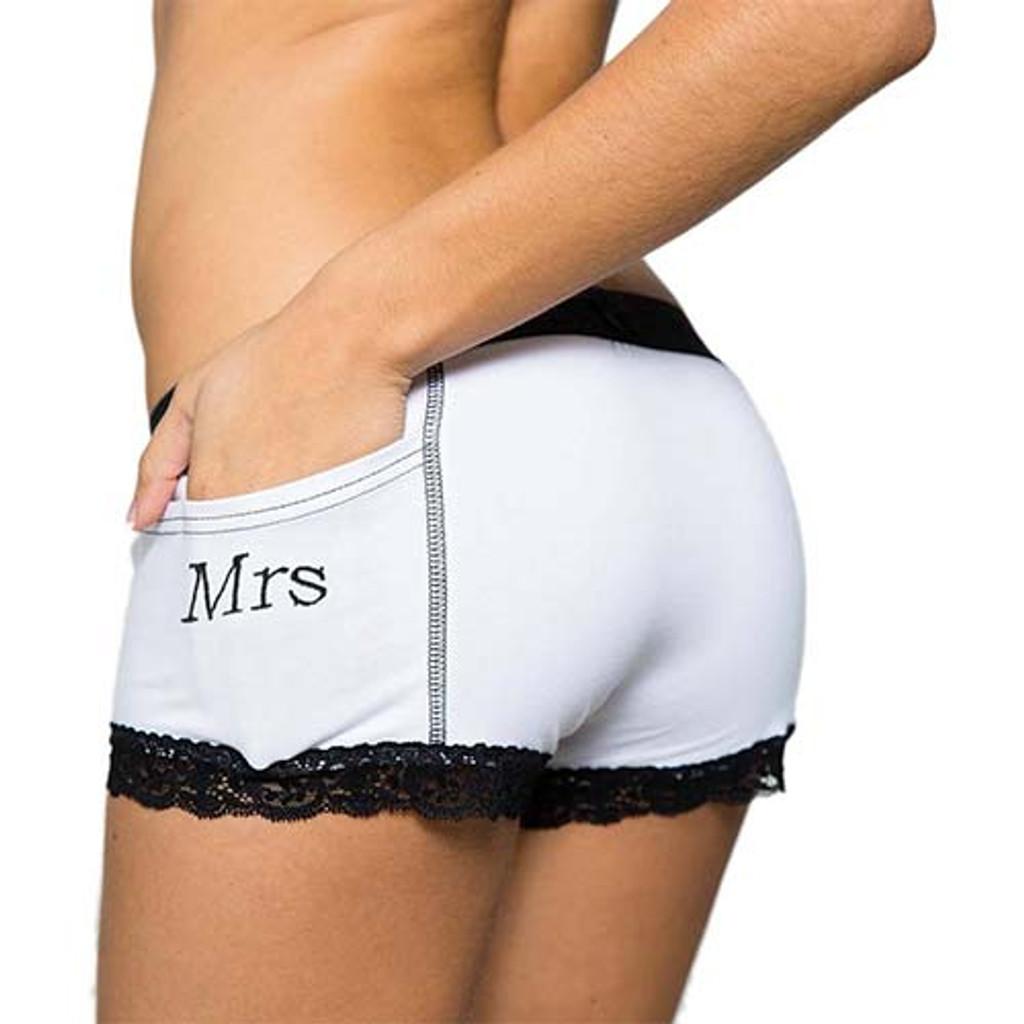 Mrs Monogrammed Women's Tuxedo Boxer Briefs | FOXERS (FXBB-0201L-MRS)