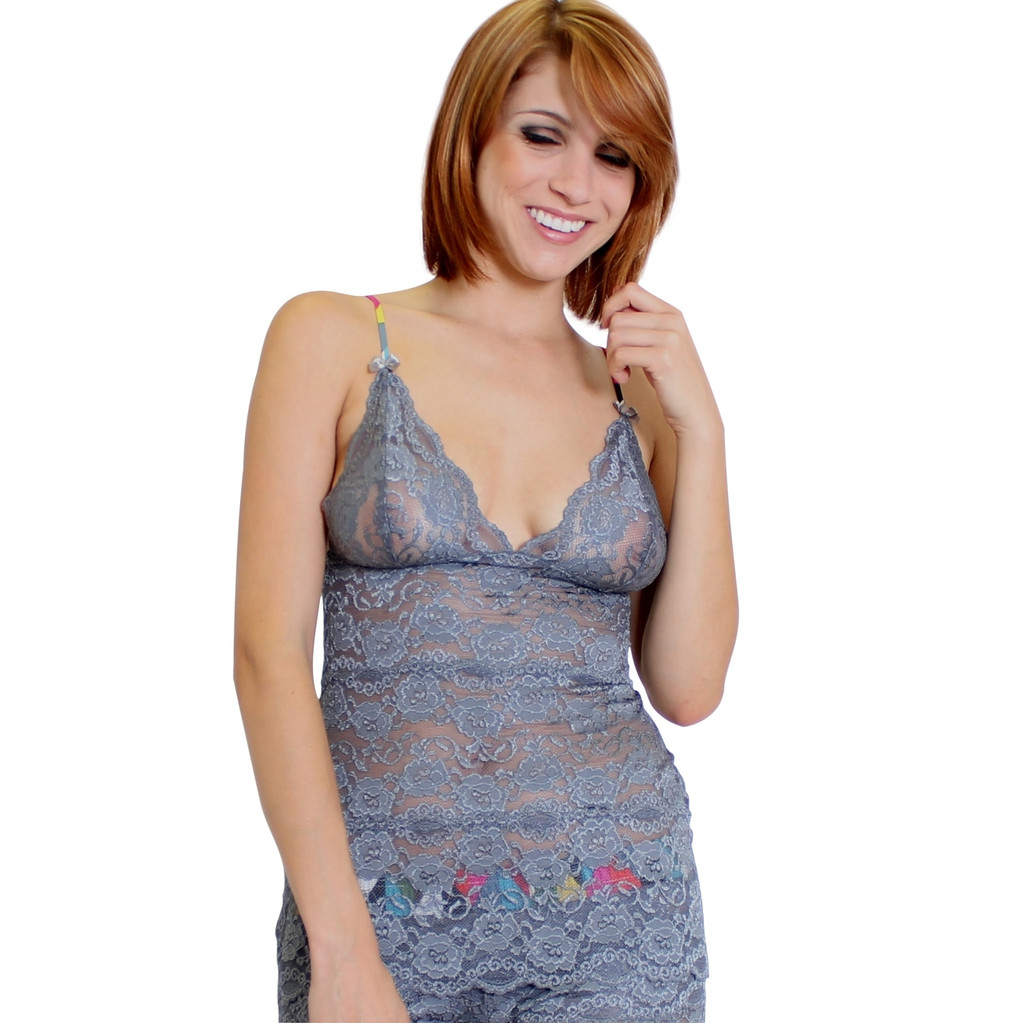 Charcoal Gray Hip Length Lace Camisole