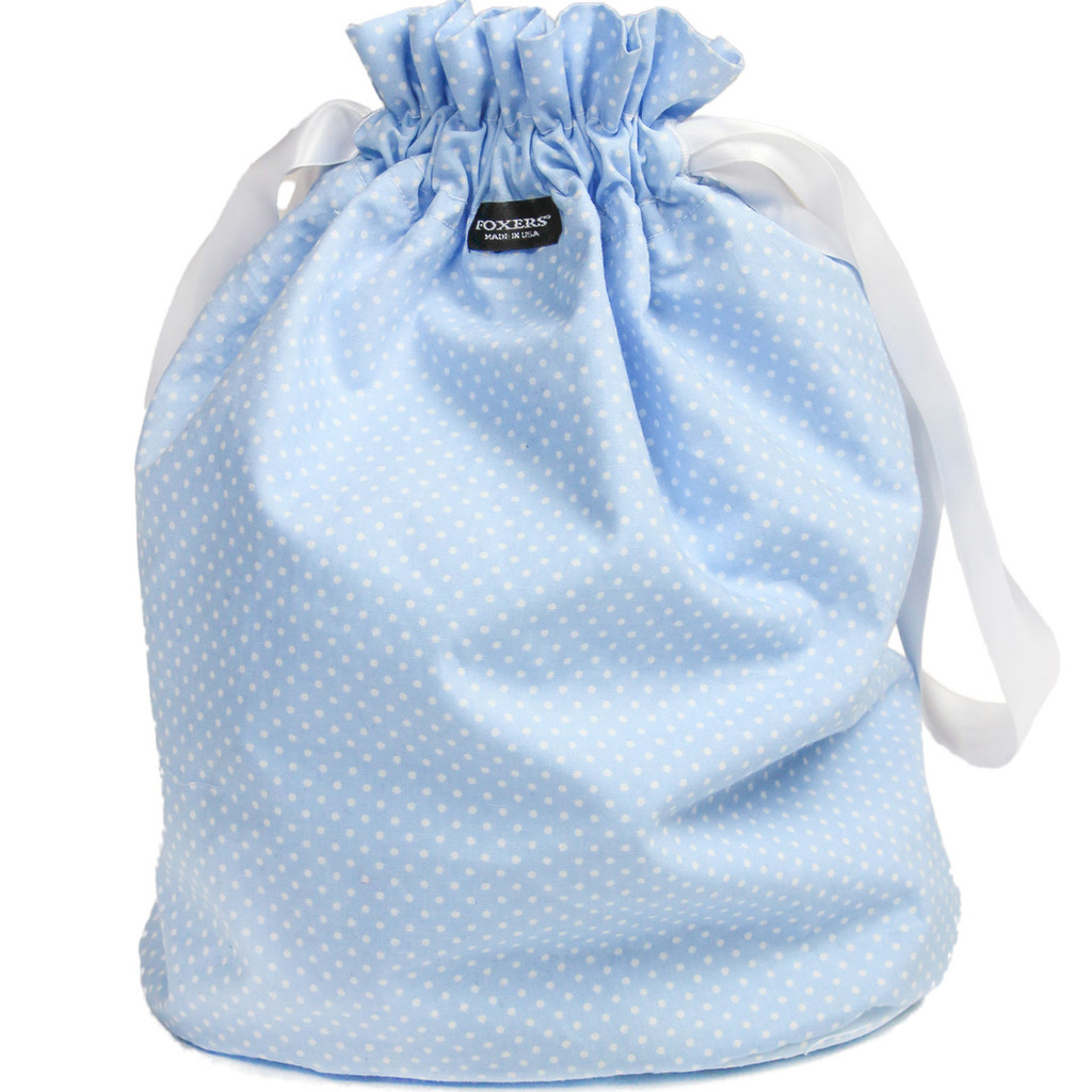 FOXERS Light Blue Dot Cinch Top Bag | Gift Bag / Purse