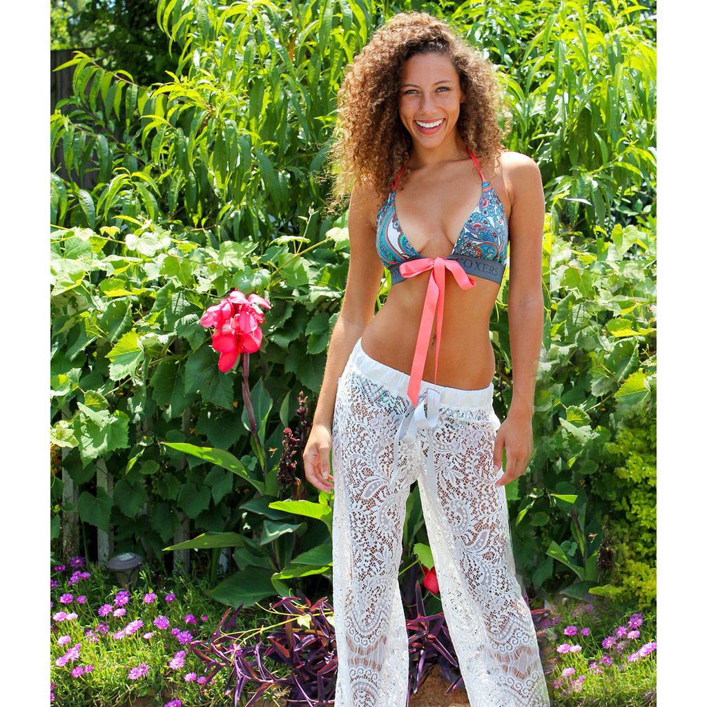 Ivory Lace Swim Cover Up Pants