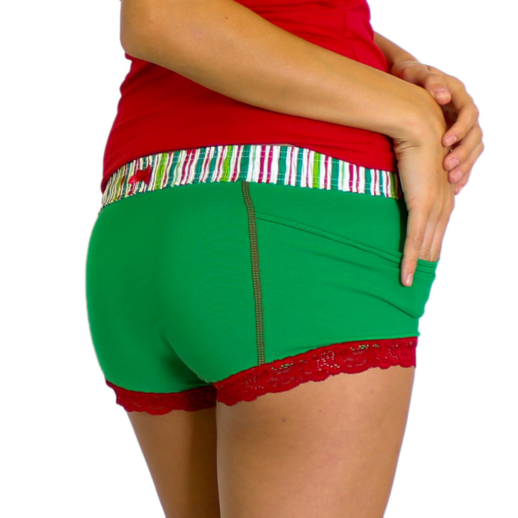 Kelly Green Boxer Brief Christmas Stripe FOXERS Band