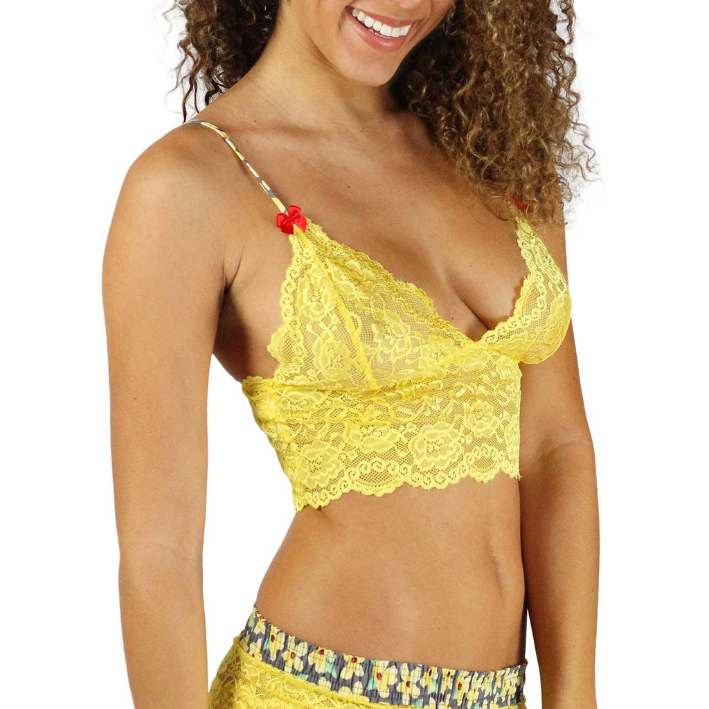 Sunshine Yellow Cropped Lace Top with Posies Straps (FXLAC-41139)