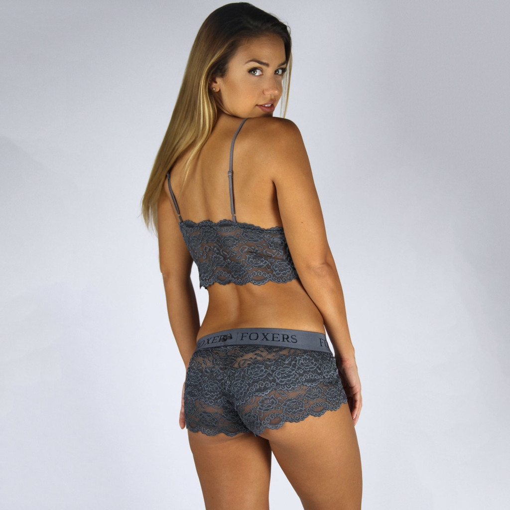 Chargray Lace Camisole Solid Gray Straps