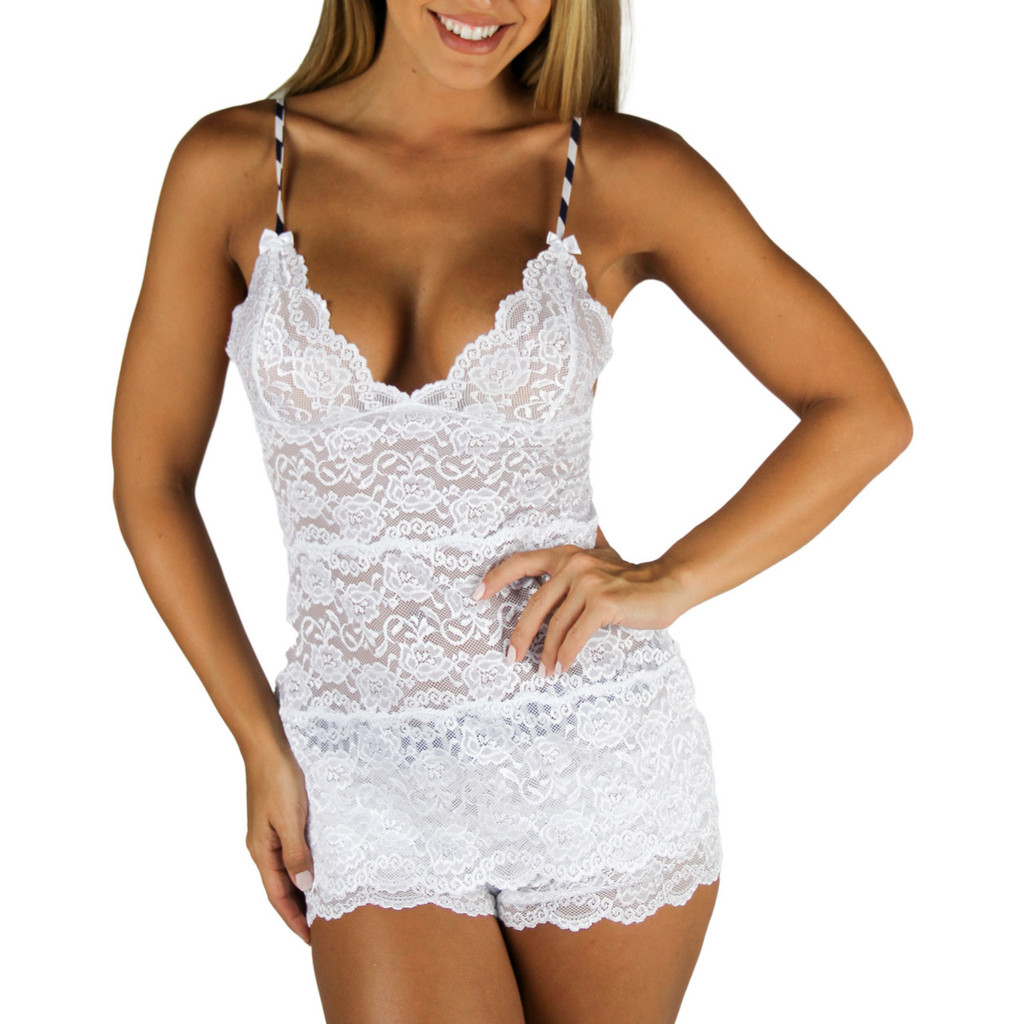 White Lace Chemise Camisole with Navy Stripe Straps