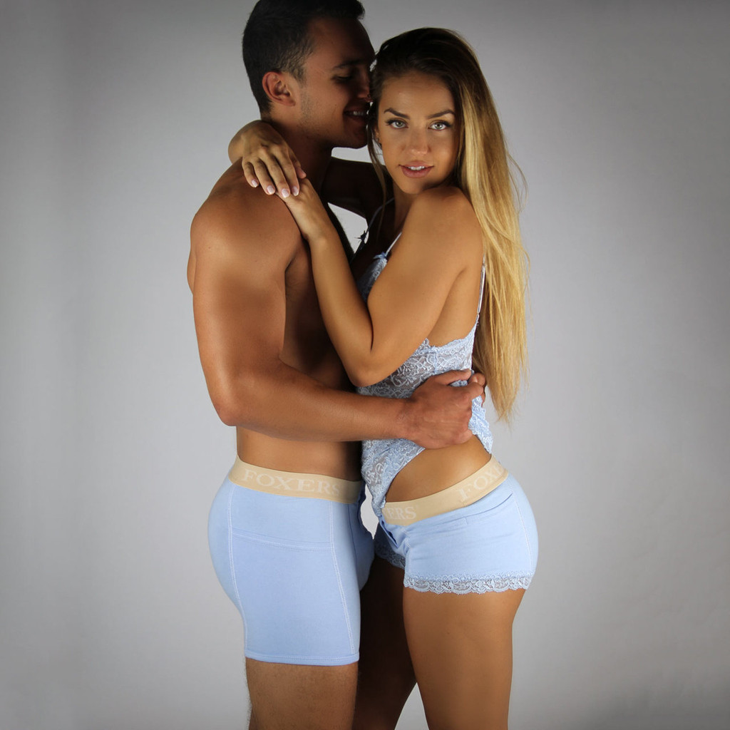 His and Hers Matching Light Blue Boxer Briefs | Something Blue!