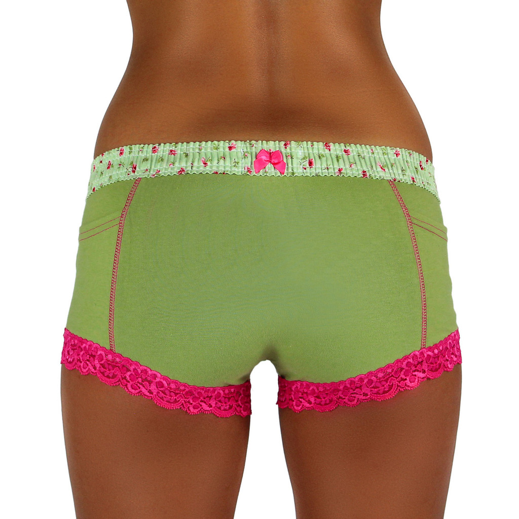 Sage Boxer Brief with Roses Over Sage Band