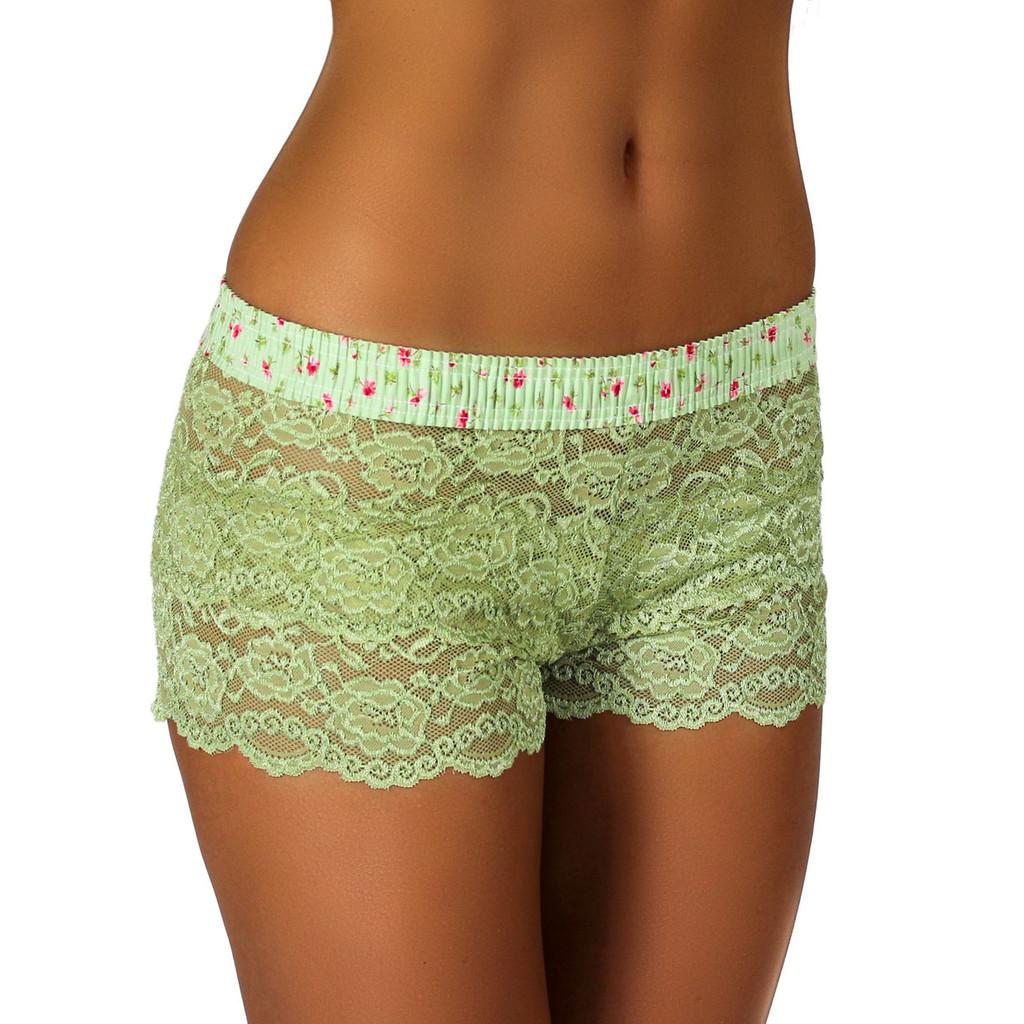Sage Green Lace Boxer | Rose Print Band (FXBXR-68154)