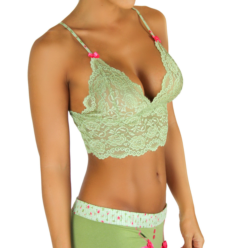 Sage Green Cropped Lace Camisole w/ Adjustable Straps