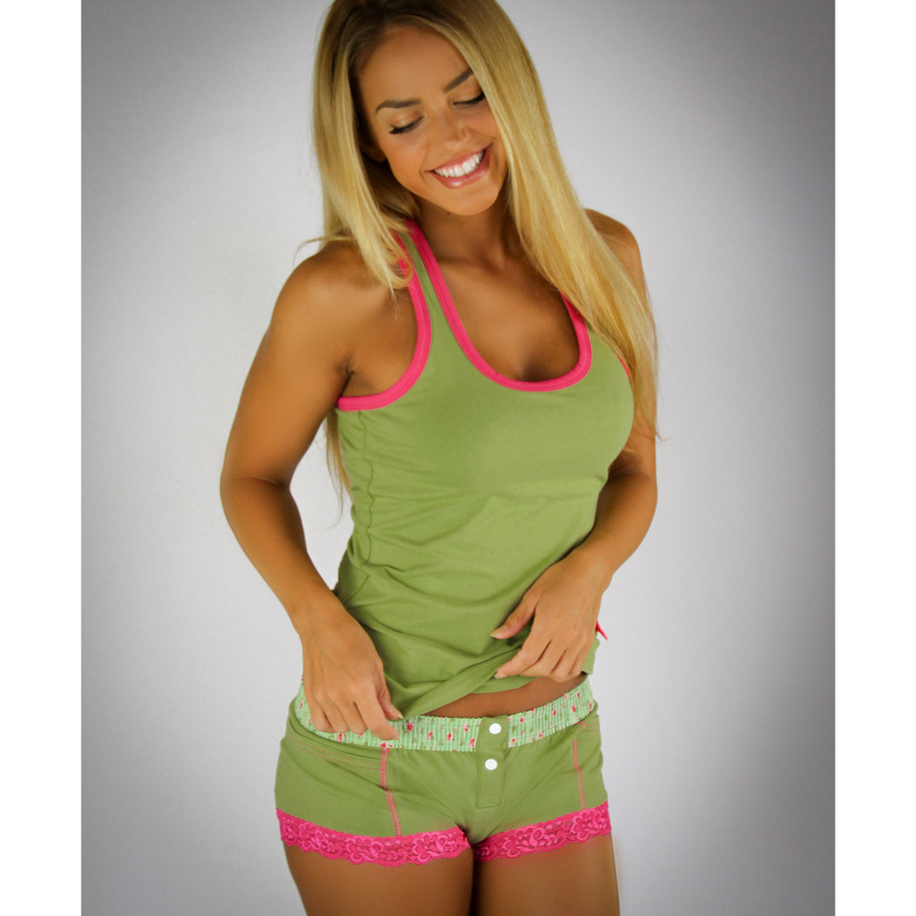 Sage Green Tank Top with Fuchsia Trim and Shelf Bra
