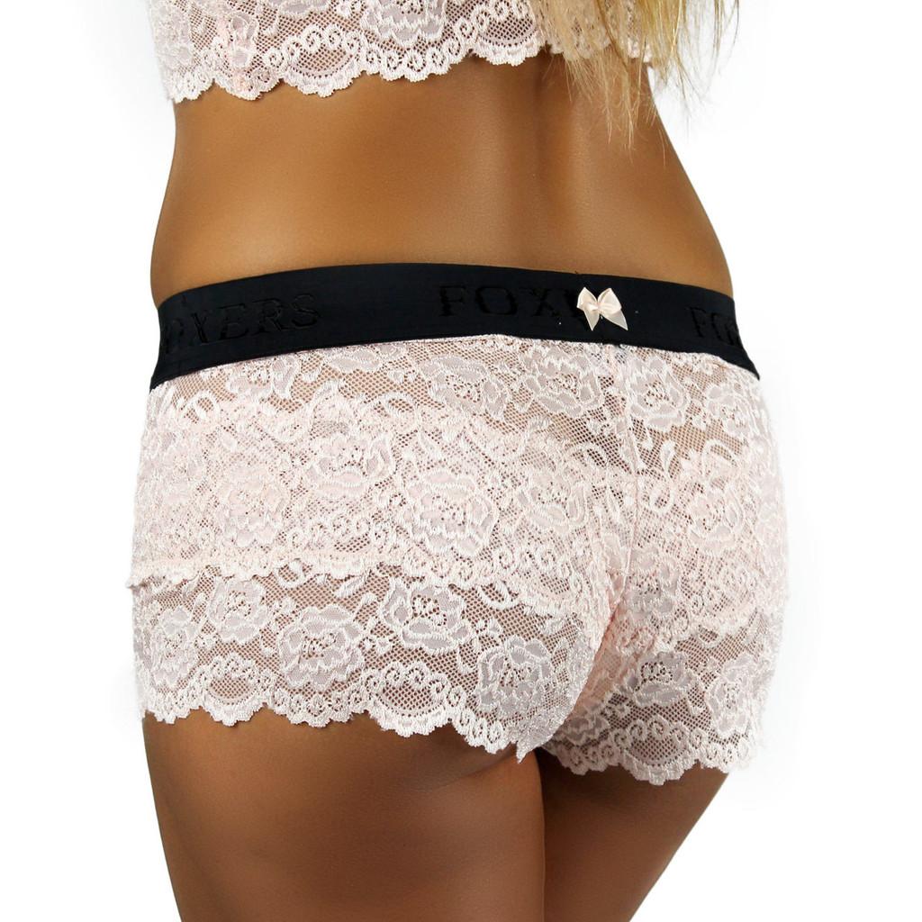 Blush Lace Boxer | Black FOXERS Logo Band