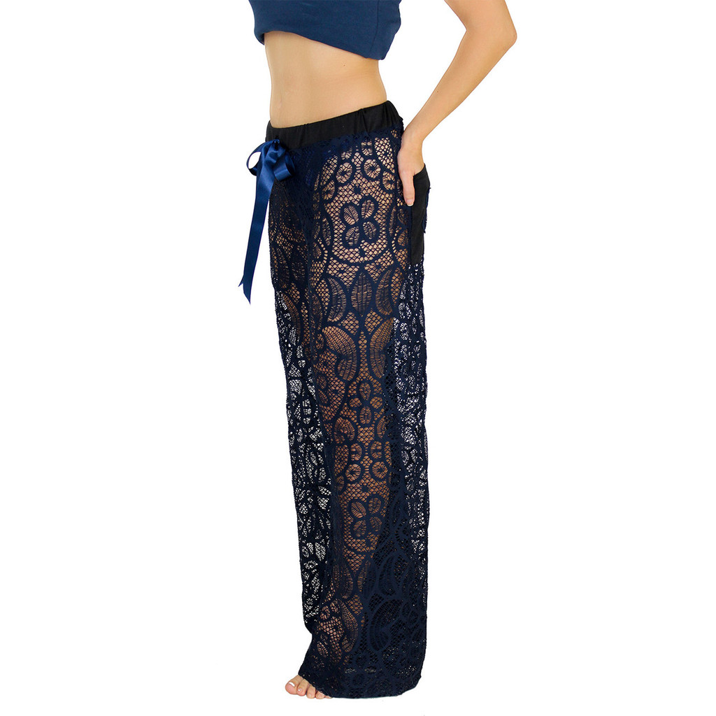 Navy Blue Lace Swim Cover Up / FOXERS Lace Lounge Pants