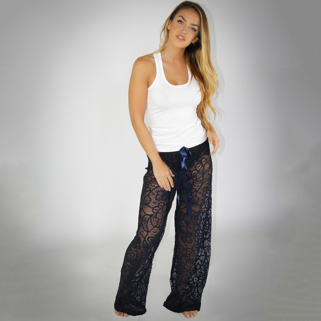 Navy Blue Lace Lounge Pants and FOXERS White Tank Top