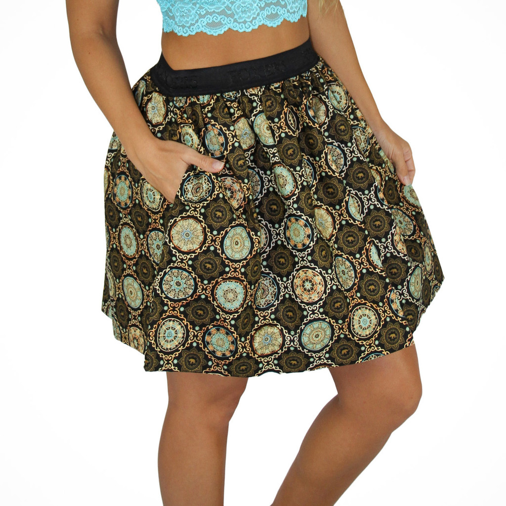 Medallion Mini Skirt With Pockets