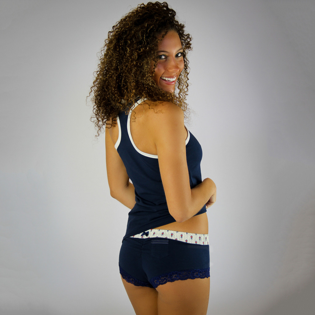 Navy Blue Boy Short Panties with Munroe Waistband