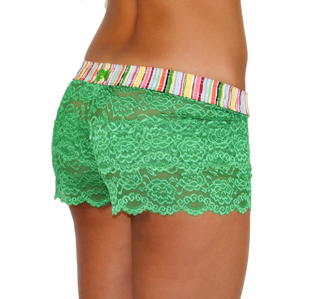 Kelly Green Lace Boxers with Cruise bright stripe band